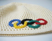 Crochet Olympic games hat. Cap with olympic rings appligue. Creamy olympic boy girl hat. Hat with olympic games symbol. Rio de Janeiro 2016