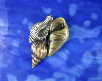 Conch Shell Brooch- Seashell Pin- Conch Jewelry- Conch  Shell