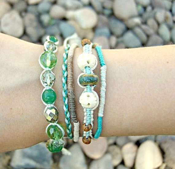 friendship bracelet wrap, siren of the sea, beaded, layered