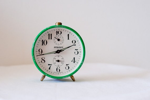 Vintage Green Staiger Alarm Clock from the 1960s Collectible Decor