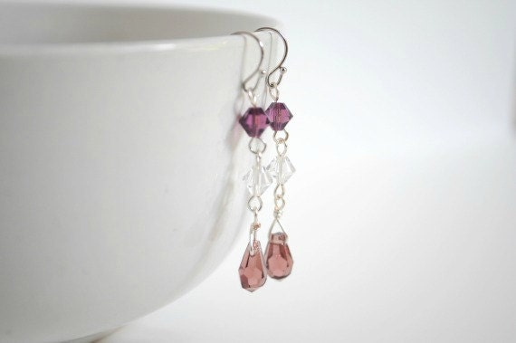 Purple Swarovski Earrings - Purple Drop Earrings - Swarovski Drop Earrings -  Long Earrings