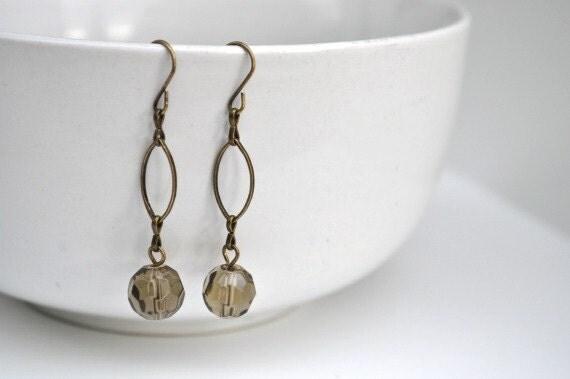Smoky Topaz Earrings - Faceted Rondelle Glass Bead Earrings - Antique Bronze Findings
