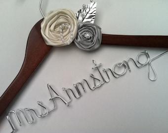 Sale, Sale, Sale. Elegant Personalized Bridal Wedding Hanger. Custom Flowers, Jewel, Pearls and More. Flower Bridal Hanger.