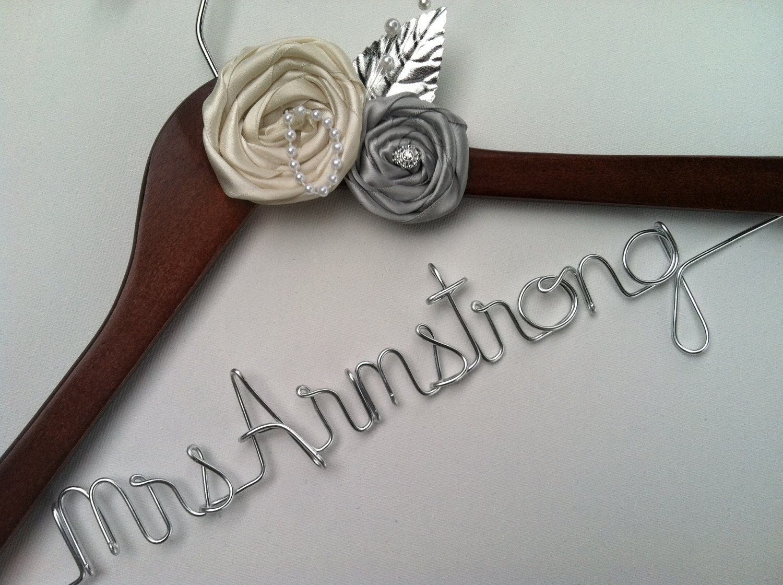Sale elegant personalized bridal wedding hanger by for Personalised wedding dress hanger