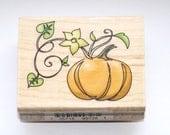 Pumpkin Fall Halloween Wood Mounted Rubber Stamp Inkadinkado