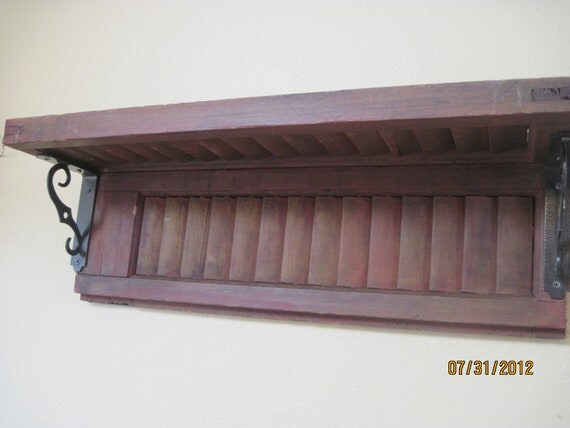 red old Vintage Shutter Shelf Repurposed Home Decor Rustic Shabby Chic