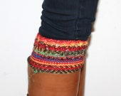 Multicolored Hand-knit boot cuffs, boot toppers, leg warmers, with Swarovski cristallized hotfixes, Fall colors