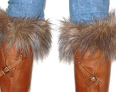 Camel knit boot cuffs, boot toppers, leg warmers  with synthetic fur