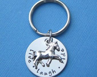 Live Laugh Ride Personalized Horse Lover Key Chain with Horse Charm Custom Horse Keychain