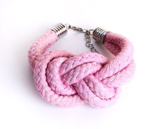PASTEL - Cotton Rope Bracelet in Light Pink / Rose