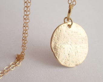 Golden Disc Necklace With 14K Gold filled chain-simple everyday jewelry