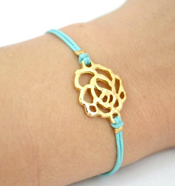 Turquoise rose bracelet, bridesmaids gift, cord bracelet with gold rose charm, turquoise cord, elegant bracelet, stack bracelet, teal