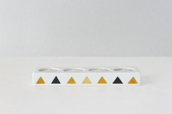 Geometric triangle candle holder BROWN