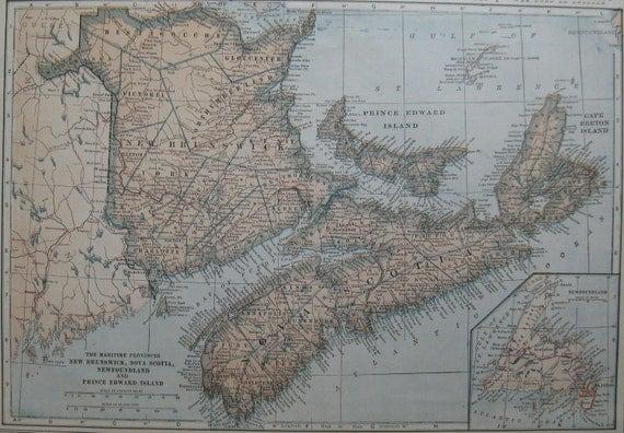 1923 antique nova scotia newfoundland map vintage 1920s map. Black Bedroom Furniture Sets. Home Design Ideas