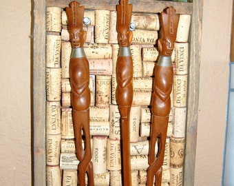 Vintage Tribal African Hand Carved Wooden Utensil Set