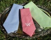 Initial Gingham Tie for Boys