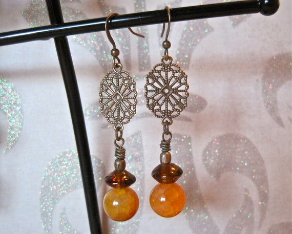 antiqued brass oval filigree earrings with honey amber agate and brown lampwork glass beads
