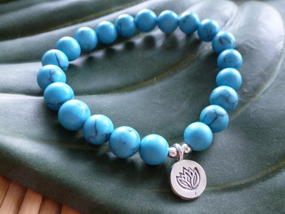 Turquoise for Visionquest with Silver Chakra Lotus Charm, Reiki Charged Mala Bracelet, Free US Shipping
