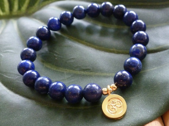 Lapis Lazuli for Ancient Wisdom with Vermeil Chakra OM Charm - Reiki Charged Mala Bracelet