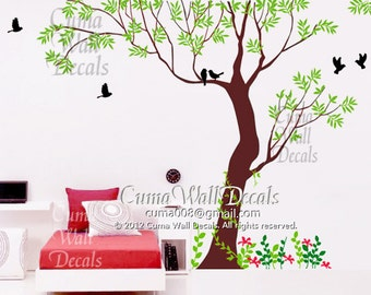 Tree wall decals flower Vinyl wall decals tree Nature Nursery wall decals Children forest- Tree with birds flowers and grass in spring Z109