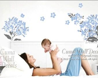 Vinyl wall decals flower branch wall decal sticker art Nursery wall decal mural children  - 2 charming flowers Z113