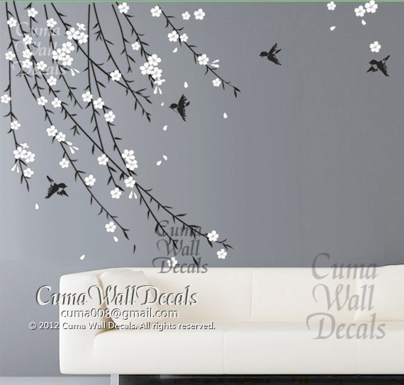 Cherry blossom birds nursery wall decals tree vinyl wall for Cherry tree wall mural
