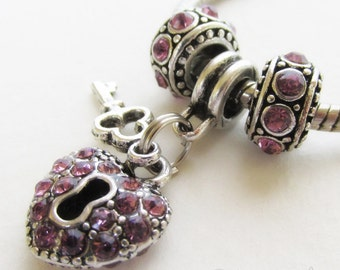 Purple Key To My Heart European Bead Trio - Pale Purple Beads For European Charm Bracelets And Necklaces - June Birthstone Alexandrite