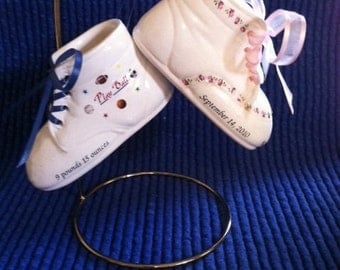 Personalized Ceramic Bisque Baby Shoe Ornaments