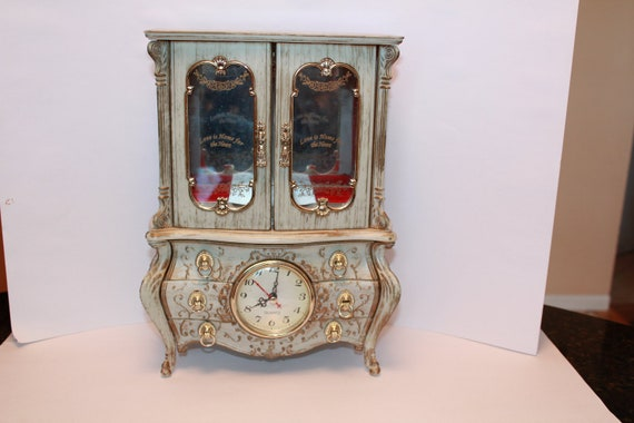 Vintage Music Jewelry Box With Clock French Provincial