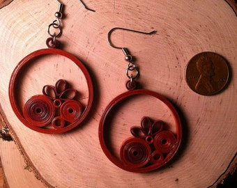 Rust Circles Quilled Earrings