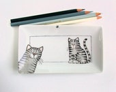 Tabby Cats tray ring holder soap dish side plate, hand painted on porcelain