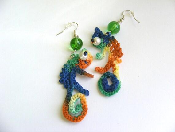 Crochet  Chameleons Earrings Original design