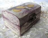 Lilac shabby chic jewelry box, jewelry storage, keepsake box, decoupage box rustic home decor