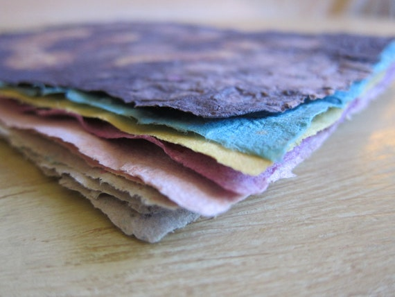 Hand Made Paper 10pc Multi Color from Recycled Material