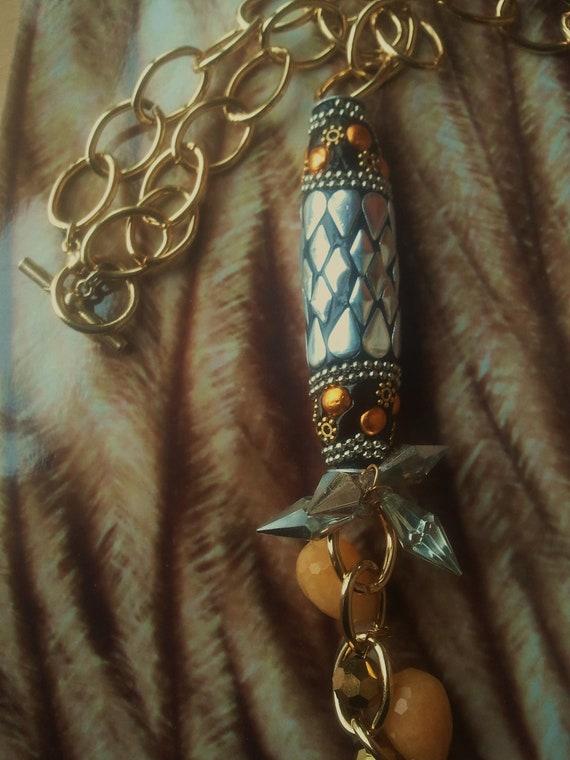 Sun Goddess Yellow,Metallic, Spiked Beaded Necklace
