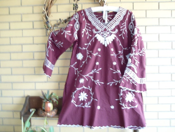 Cranberry embroidered tunic top size large