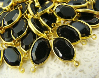 Vintage Onyx Black Lucite Jewels Channel Set Brass Connectors (6) 19 x 8mm