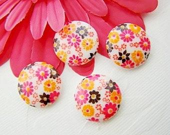 Vintage 20mm Calico Flower Cabochons Pink Orange and Brown Plastic Floral Embellishment - 4