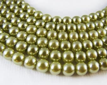 Vintage Sage Green 5mm Round Faux Pearl Beads - 20