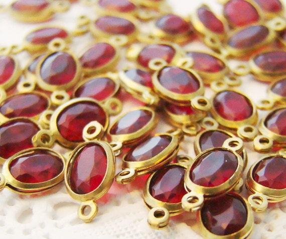Small Garnet Red Oval Lucite Jewel Brass Connectors 12mm x 6mm (6)