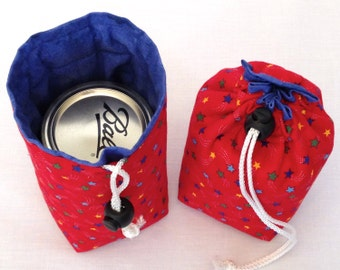 Mason jar carrier bag - Pint single Jars to Go red star blue lining patriotic drawstring bag carrier cozy pouch