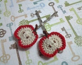 Set of 2 - Red Half Apple Crochet Appliques Bobby Pins