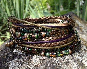 Boho Beaded Leather Wrap Bracelet Multi Media,  Emerald Green Beads with Brass, 3X wrap, Leather, Beaded and Brass Chains (LW-422)