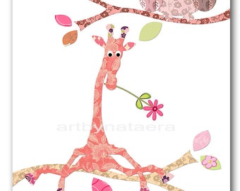 Baby Girl nursery room art prints baby nursery decor nursery wall art giraffe children wall art print baby owl decoration rose
