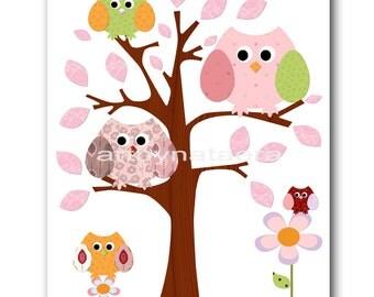Baby Art for Children Kids Wall Art Baby Girl Room Decor Girl Nursery print Girl Artwork tree owls orange rose green