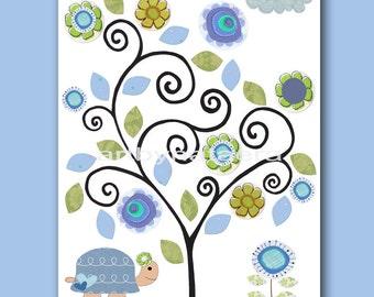Turtle Art for Children Kids Wall Decor Baby Boy Nursery Baby Room Decor Baby Boy print flower tree green blue artwork