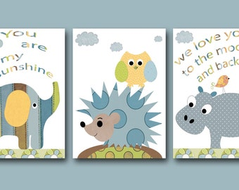 Children Art Kids Wall Art Baby Art Baby Boy Room Decor Baby Boy Nursery Baby Room set of 3 Print Elephant Owl Blue Gray Hippopotamus