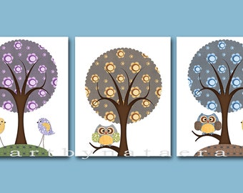 Baby Boy Room Decor Owls Baby Art Baby Boy Nursery Print Baby Room Baby Decor set of 3 Print Birds Tree Owls Decoration Violet Yellow