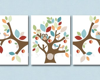 Baby Room Decor Nursery Print Art Baby Nursery Decor Kids Wall Art Baby Boy Nursery set of 3 Tree Birds Owls Decoration Blue Green Red