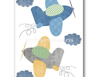 Baby Gift Airplanes Art for Children Kids Wall Art Baby Boy Room Decor Baby Nursery Decor Baby Boy Nursery Print Plane Blue Yellow Gray